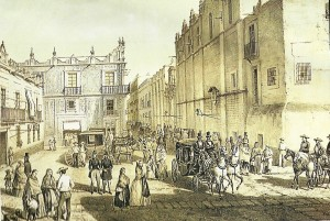 Plazuela de Guardiola (II) Litografía de Castro y Campillo. Gran Historia de México Ilustr.