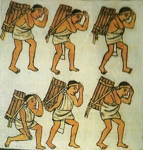 Tamemes. Códice Florentino. UNAM-INAH. Gran Historia de México Ilustrada. Ed. Planeta 2002.
