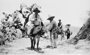 Viajeros acompañados por el arriero a pie. P. Imágenes históricas de Guadalajara, México, en F.