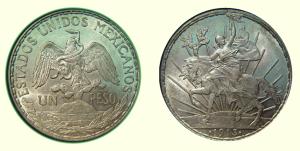 Peso, México, Libertad (Caballito), Plata, 1913. Banco de México.