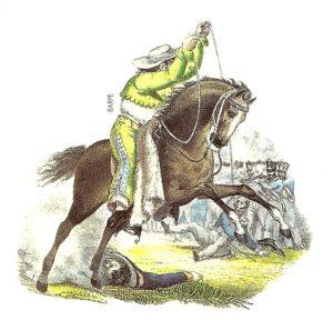 El lazo como arma. Litografía de Claudio Linati. Gran Historia de México Ilustrada. Ed. Planeta (2002).