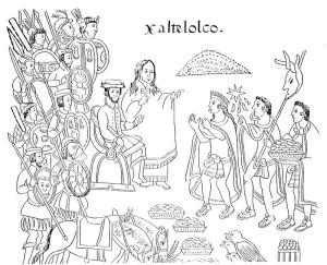 800px-Malinche_Tlaxcala. La Malinche, intérprete de Cortés. Lienzo de Tlaxcala. Siglo XVI.